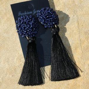 New! Large Black Boho Earrings Post Drop Tassels